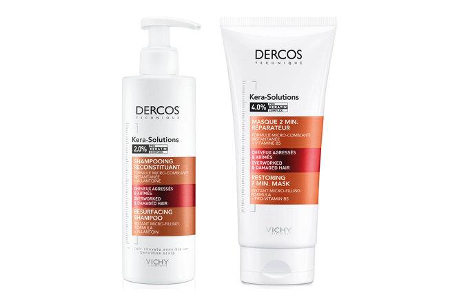 Шампунь и экспресс-маска с комплексом Про-Кератин, реконструирующие поверхность волоса, Kera-Solutions, Dercos