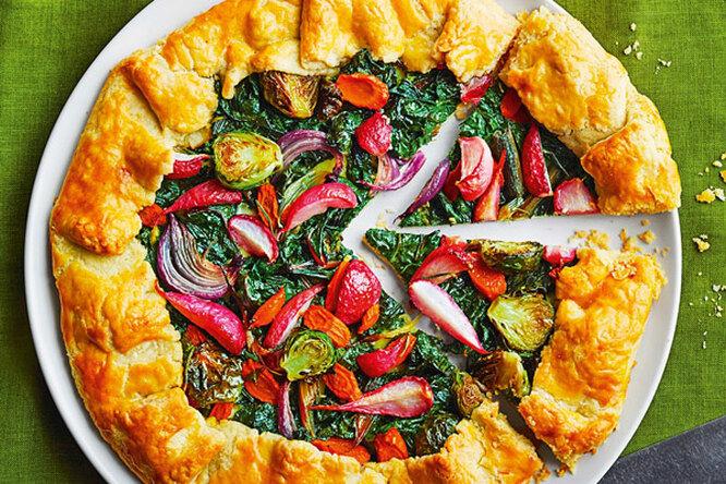 Открытый пирог-галета с овощами