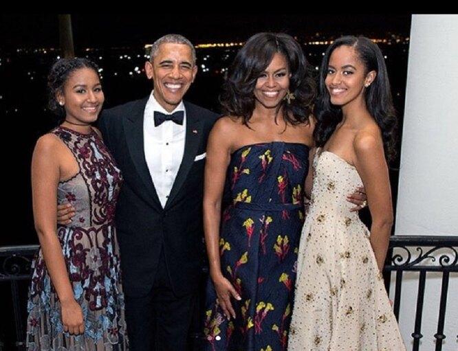 Мишель Обама, Барак Обама, Малия Обама, Саша (Наташа) Обама