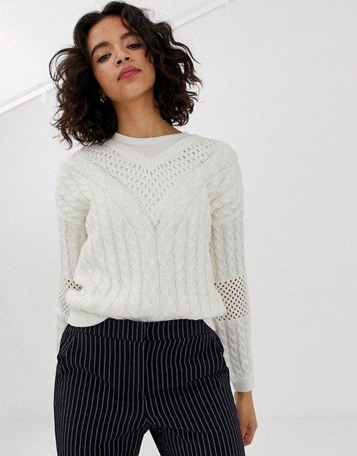 модель вбелом свитере