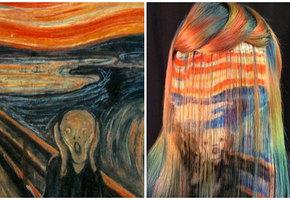 Парикмахер красит волосы клиентов, вдохновляясь полотнами Кандинского и Мунка