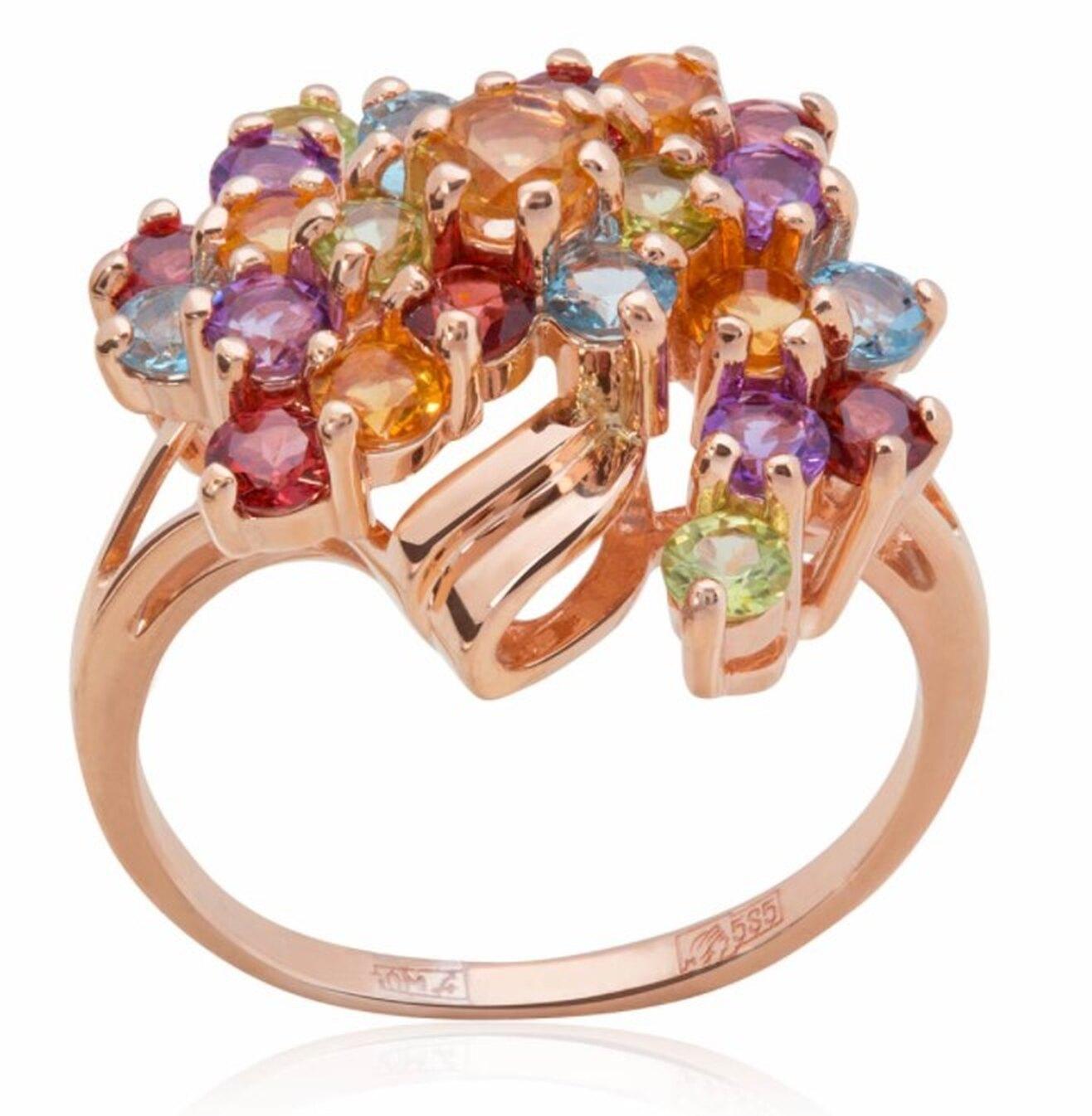 Кольцо из красного золота 585 пробы с полудрагоценными камнями, Adamas, 35 098 руб