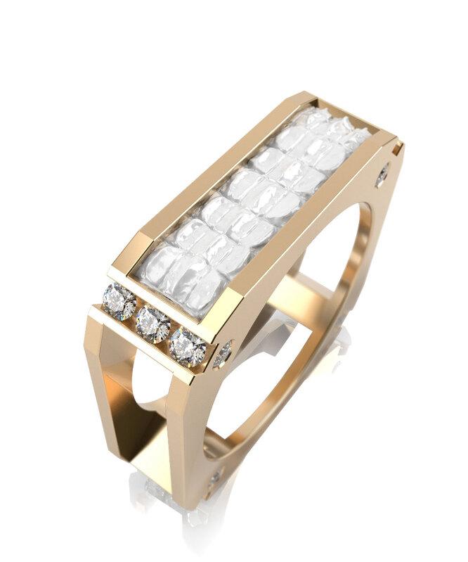 Обручальное кольцо из желтого золота с белой керамикой и фианитами, Graf Кольцов, 47 416 руб