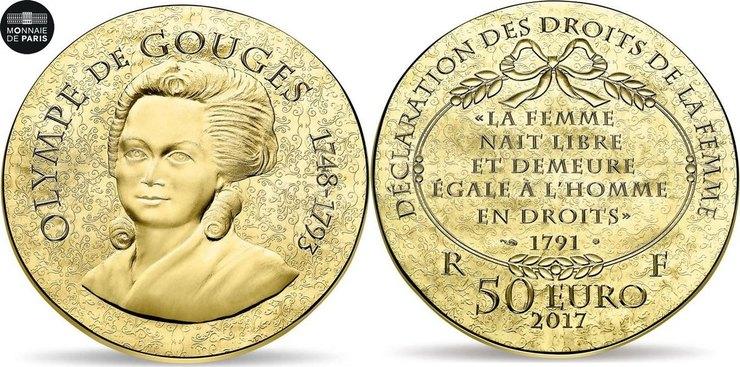 монета в50 евро памяти Олимпии де Гуж