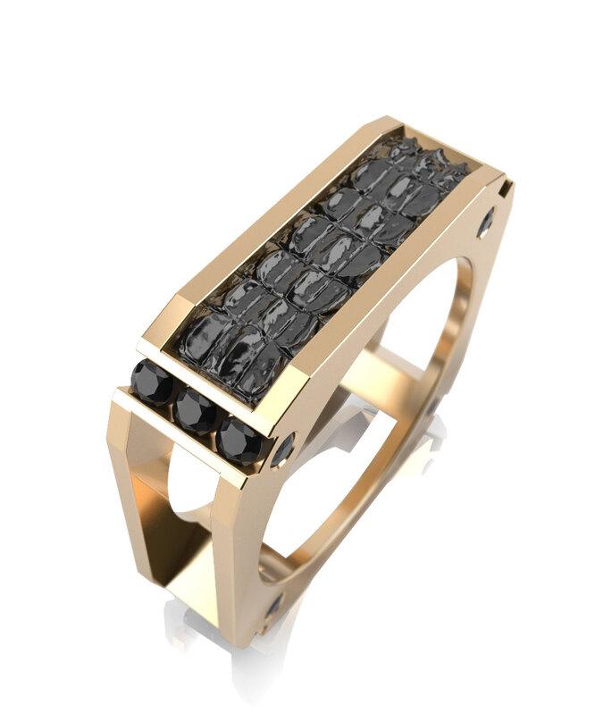 Обручальное кольцо из желтого золота с черной керамикой и черными фианитами, Graf Кольцов, 47 416 руб