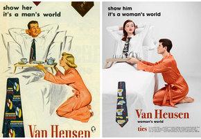 Фотограф поменял местами мужчину и женщину на старых плакатах. Результат понравился не всем