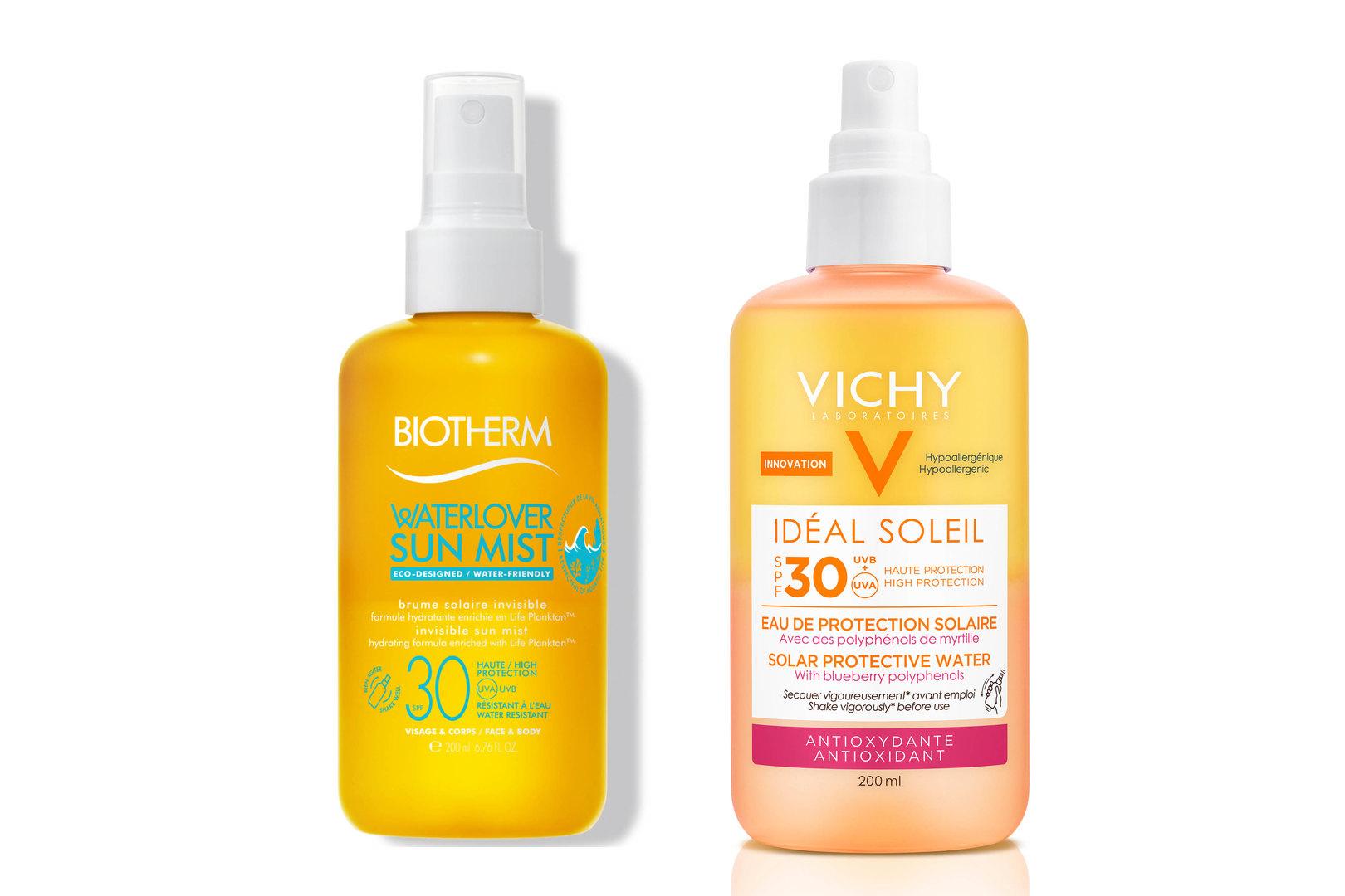 Солнцезащитный спрей Waterlover Sun Mist SPF 30, Biotherm; Солнцезащитный двухфазный спрей сантиоксидантами Ideal Soleil SPF 30, Vichy