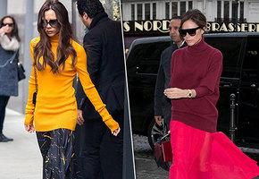 Учимся у Виктории Бекхэм, как идеально сочетать свитер и юбку