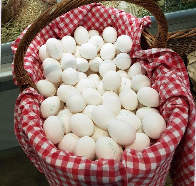 куриные яйца, яйца в корзине, свежие куриные яйца