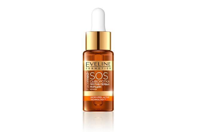 Ночная SOS-сыворотка против первых морщин с витамином С, гиалуроновой кислотой Facemed +, Eveline Cosmetics
