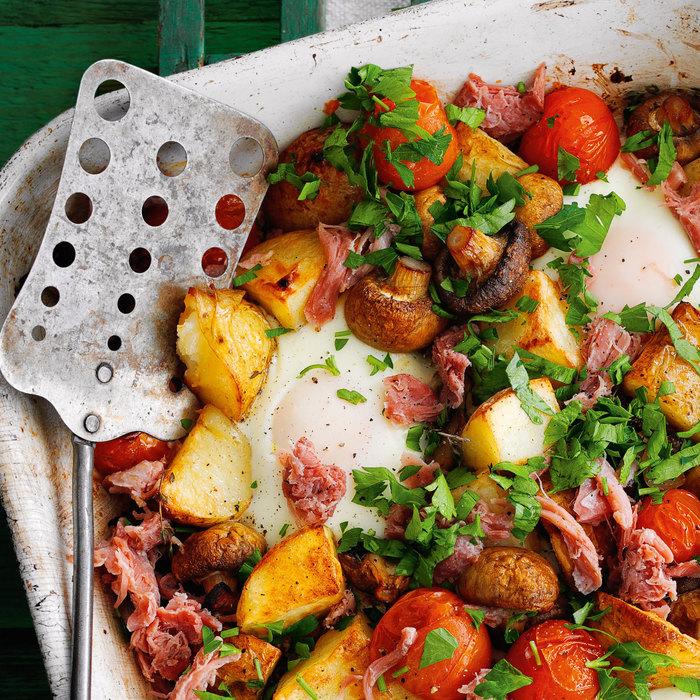 Рецепт картофеля светчиной ияйцами