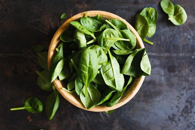 зелень, шпинат, миска зелени, зеленый салат
