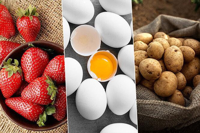 клубника, яйца, картофель