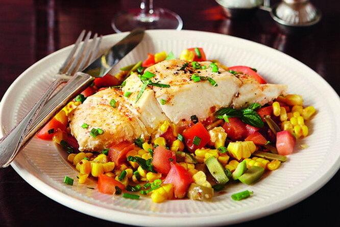 Паровая рыба с пикантным соусом