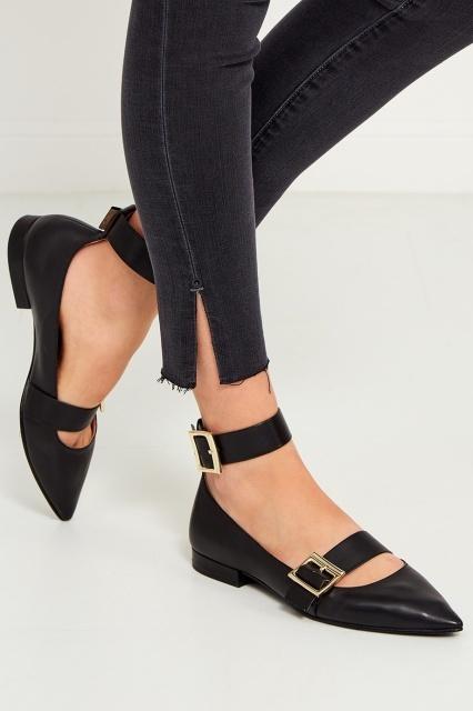 Черные кожаные туфли сремешками, What For, 11 800 руб.